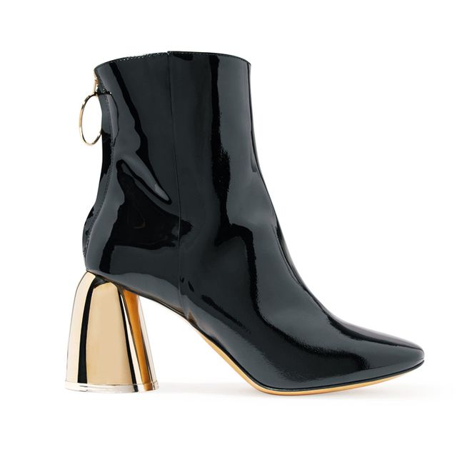 what boots to wear with skinny jeans: Ellery Patent-Leather Ankle Boots