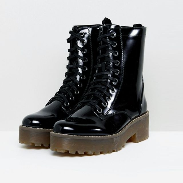 what boots to wear with skinny jeans: Monki Patent Lace Up Biker Boot
