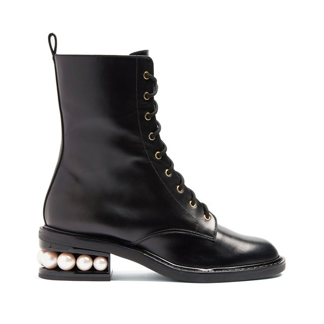what boots to wear with skinny jeans: Nicholas Kirkwood Casati Pearl Heel Lace-Up Combat Boot