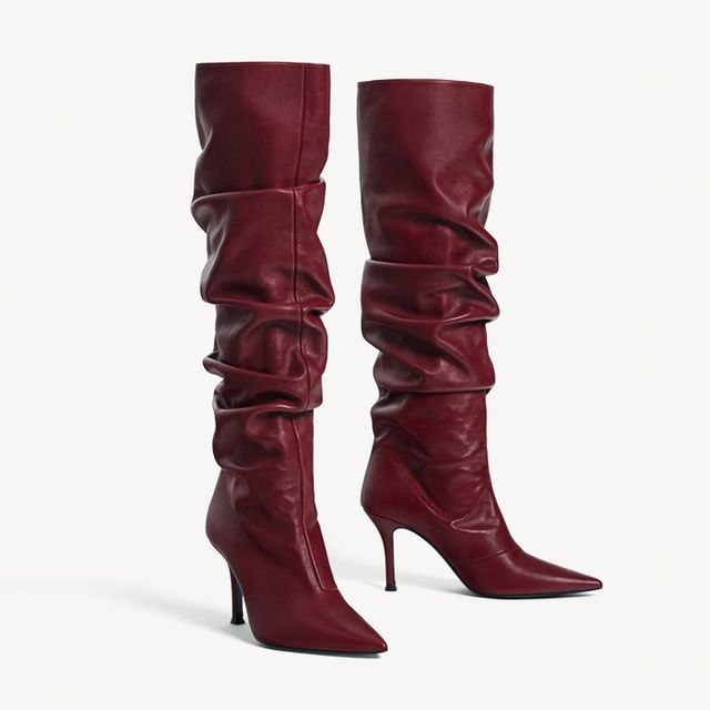 what boots to wear with skinny jeans: Uterqüe Burgundy Leather High Heel Boots