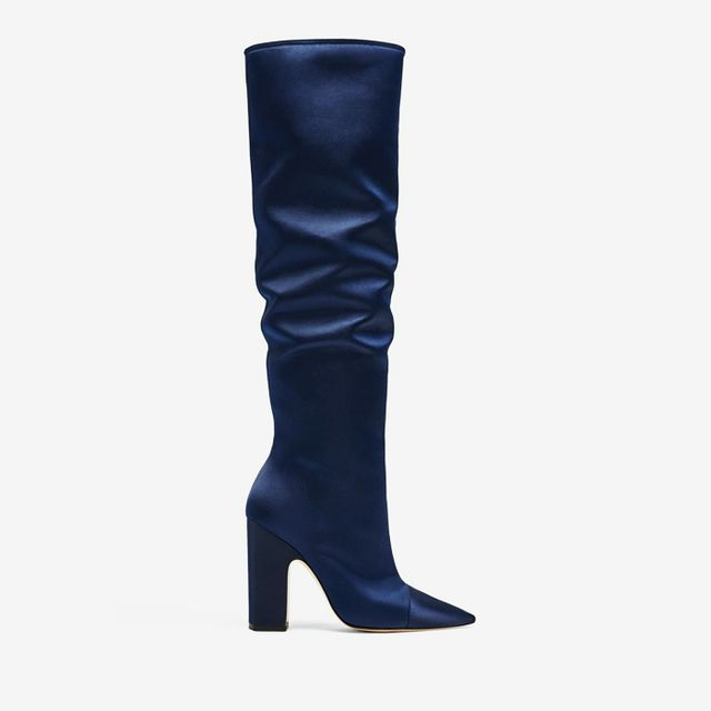 what boots to wear with skinny jeans: Zara Sateen High Heel Boots