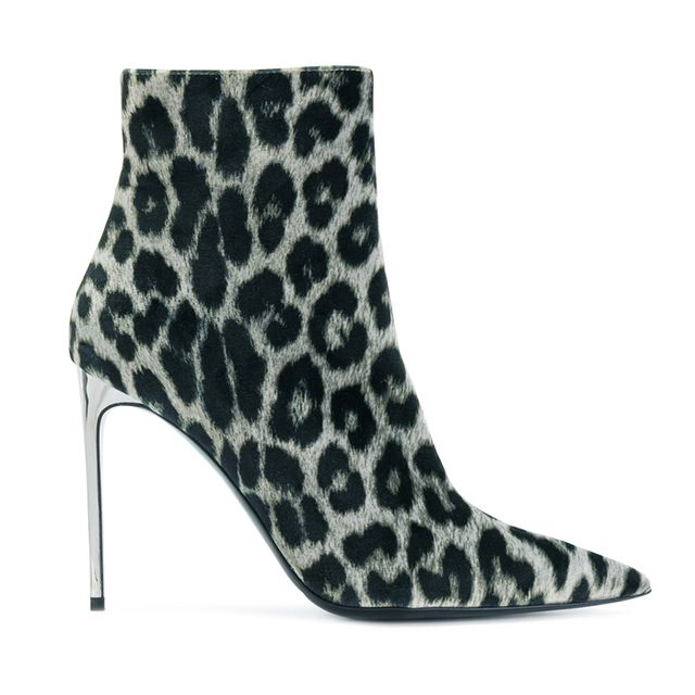 what boots to wear with skinny jeans: Stella McCartney Leopard Pattern Stiletto Boots