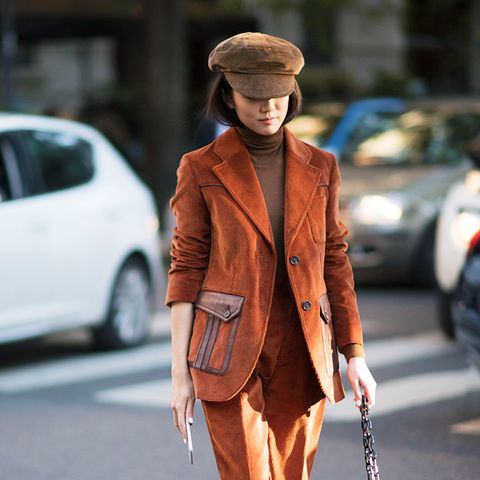 how to wear a turtleneck: brown with a corduroy suit