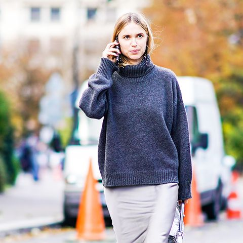 how to wear a turtleneck: oversized over a skirt