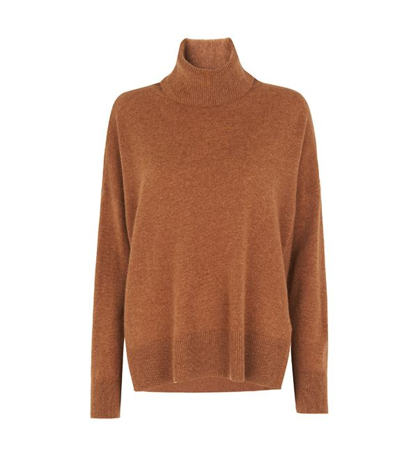 How to wear a rollneck: Whistles Cashmere Rib Back Roll Neck