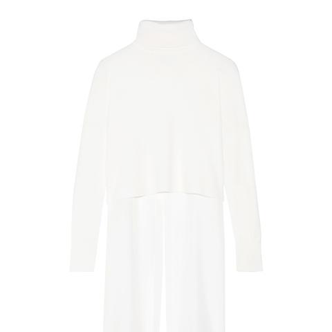 Asymmetric Paneled Merino Wool and Silk-Crepe Turtleneck Sweater