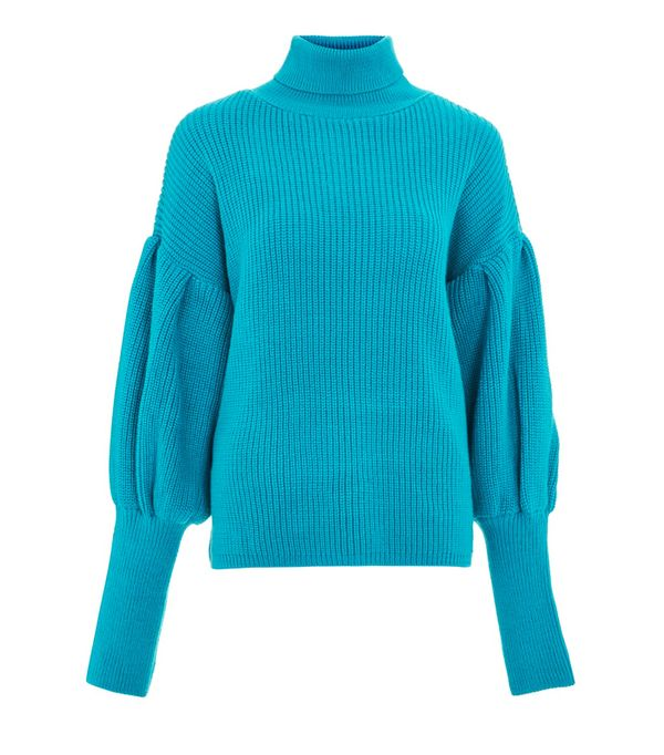 How to wear a turtleneck: Topshop Turquoise Balloon Sleeve Roll Neck Jumper