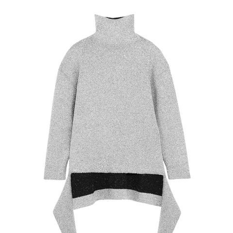 Oversized Metallic Knitted Turtleneck Sweater