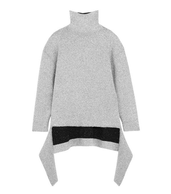 How to wear a turtleneck: Balenciaga Oversized Metallic Knitted Turtleneck Sweater