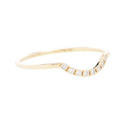 Curved Pave 14kt Gold And Diamonds Ring