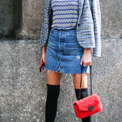 over the knee boots outfits: black OTKs always look good with a denim mini.