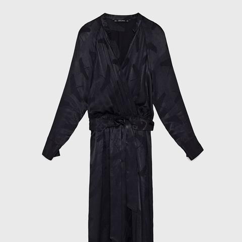 Heron Print Jacquard Dress