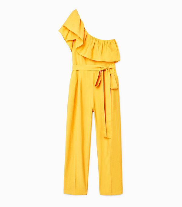 How to Remove Wrinkles From Clothes: Mango Bow Ruffled Jumpsuit