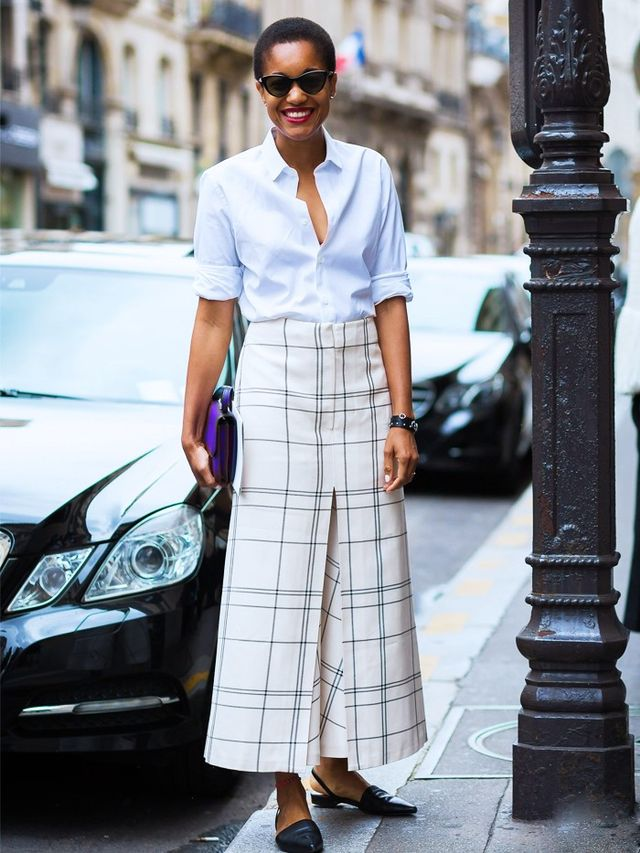 What to wear to an interview: Tamu McPherson wears checked skirt and shirt