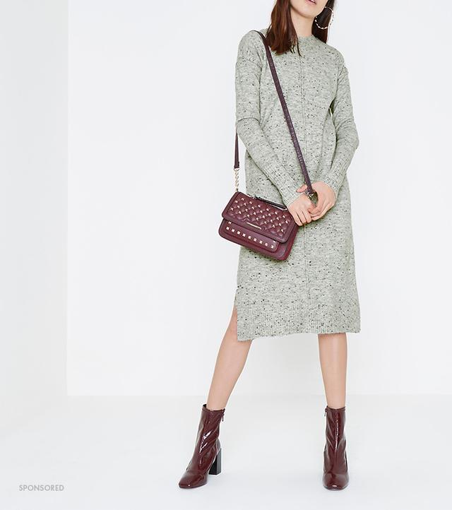 River Island Grey Neppy Long Sleeve Knitted Midi Dress