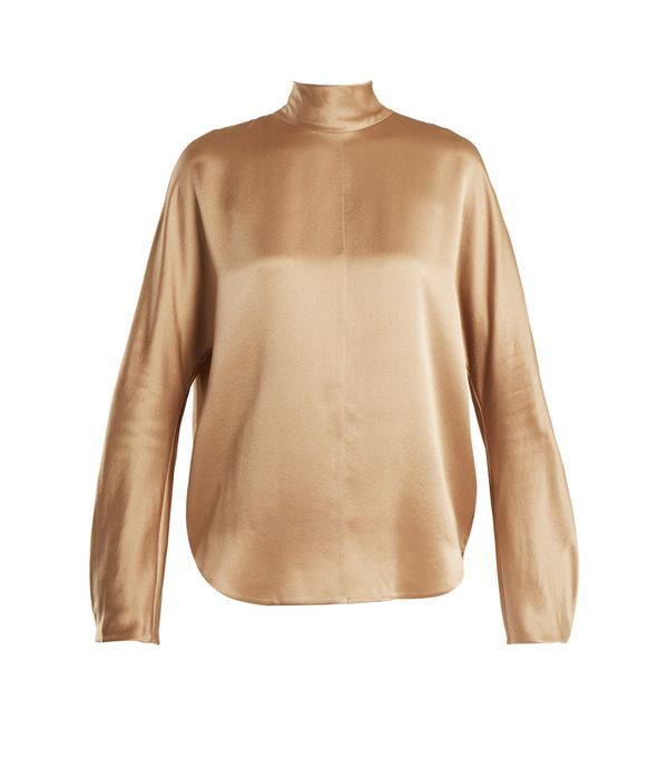 how to wear camel clothing: Vince High-Neck Silk Crepe de Chine Blouse