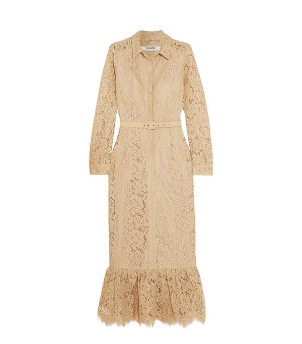 how to wear camel clothing: Ganni Jerome Belted Lace Shirt Dress