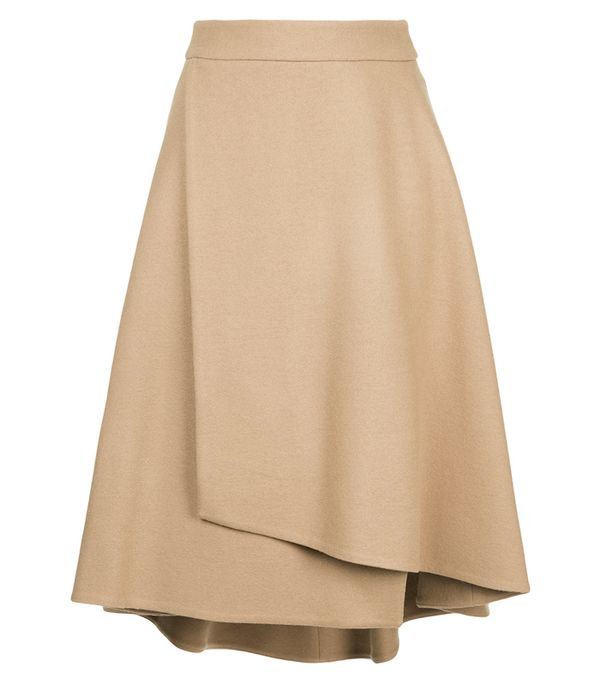 how to wear camel clothing: Estnation A-Line Wrap Skirt