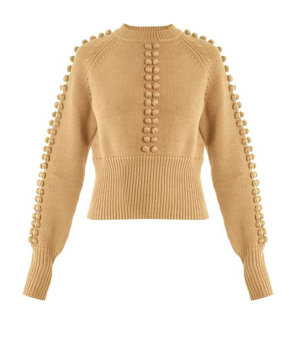 how to wear camel clothing: Chloé Pompom-Embellished Sweater