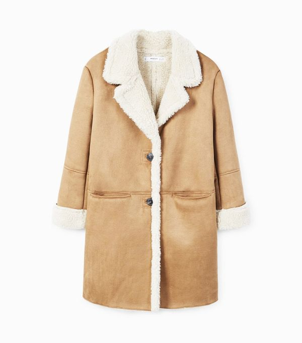 how to wear camel clothing: Mango Faux Shearling Lining Coat