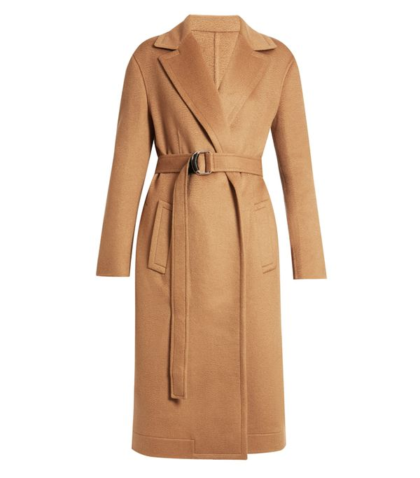 how to wear camel clothing: Calvin Klein Notch Lapel Tie-Waist Wool Coat