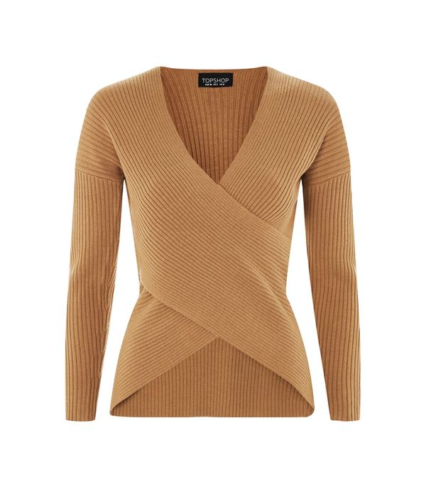 how to wear camel clothing: Topshop Cashmere Blend Wrap Top