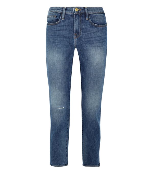 What Men Think of Boyfriend Jeans: Frame Le Boy Distressed High-Rise Slim-Leg Jeans