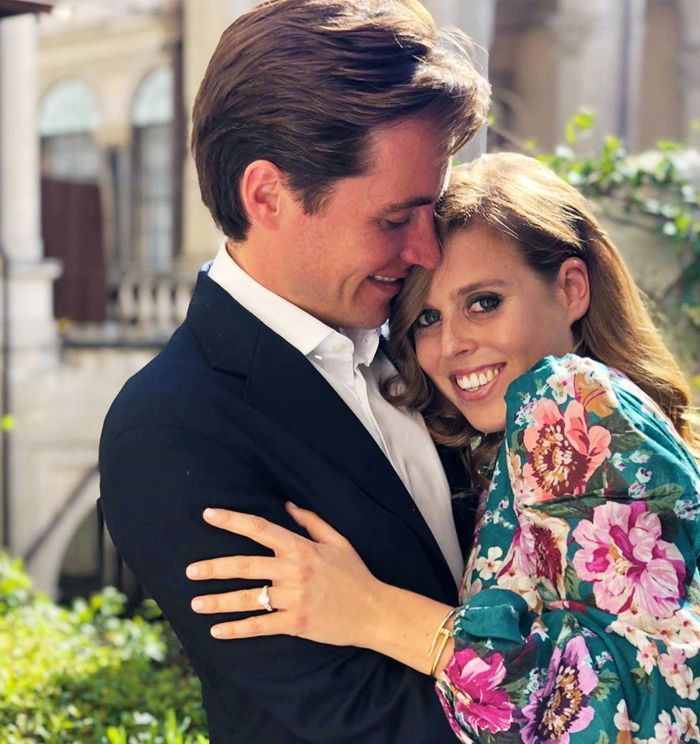 Princess Beatrice engagement ring from Shaun Leane and wearing a floral dress