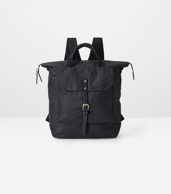 male bloggers: Ally Capellino Frances Waxed Cotton Rucksack in Black
