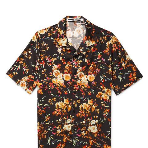 Billy Camp-Collar Printed Twill Shirt