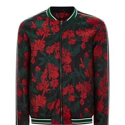 Black And Red Floral Smart Bomber Jacket