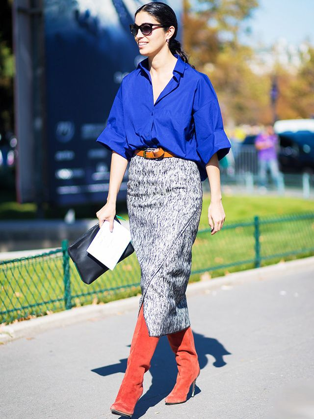 What to wear to work: Patterned pencil skirt + shirt