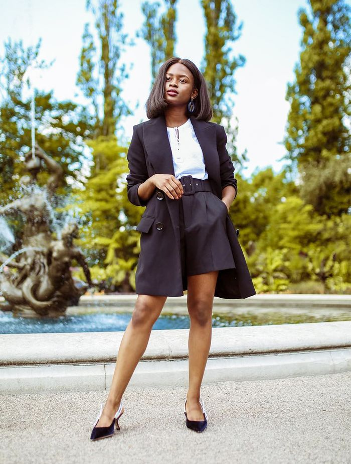 What to Wear to Work: Eni in a black short suit