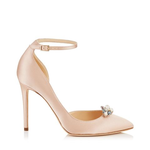 Dusty Rose Satin Pointy Toe Pumps With Crystal Mix Clip-On Jewels
