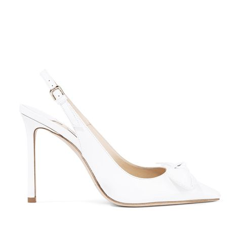 Blare 100 Bow-Embellished Patent-Leather Slingback Pumps
