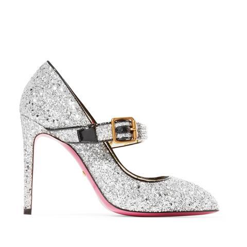 Sylvie Crystal-Embellished Glittered Leather Pumps