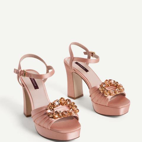 Satin Sandals With Gem Details