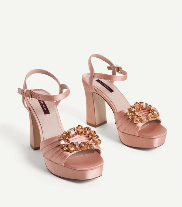 Best Bridal Shoes: Uterqüe Satin Sandals With Gem Details
