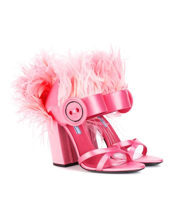 Best Bridal Shoes: Prada Feather-Trimmed Satin Sandals