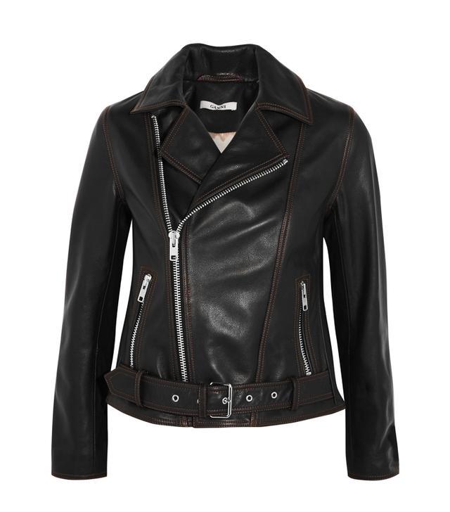 What guys like girls to wear: Ganni Tatin Leather Biker Jacket