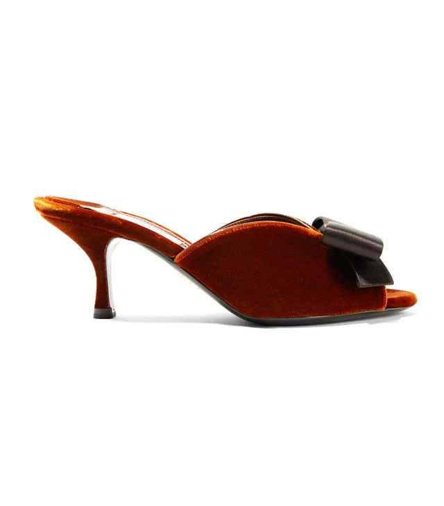 What guys like girls to wear: Prada Bow-Embellished Suede Mules