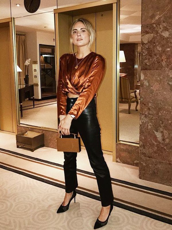 what to wear on a date: satin blouse + leather trousers + heels