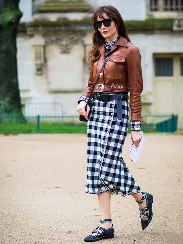 How to Wear a Leather Jacket: Midi dress + pretty flats + oversized sunnies