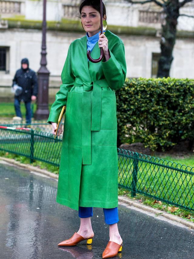 How to Wear a Leather Jacket: roll neck + straight leg jeans + kitten heels