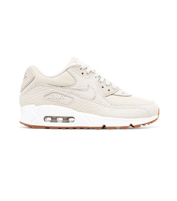 Shoe size: Nike Air Max 90 Premium Snake-Effect Leather And Mesh Sneakers