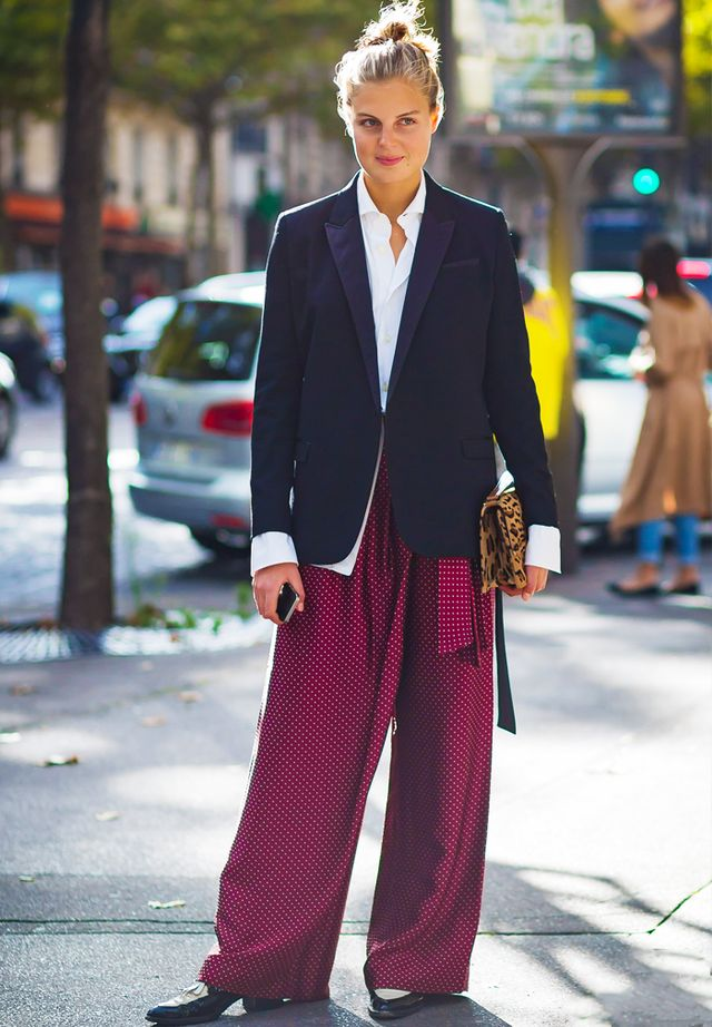 How to wear a blazer: Wear with a white shirt and PJ trousers