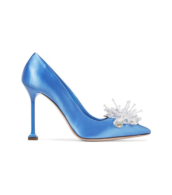 Miu Miu Embellished Blue Satin Pumps