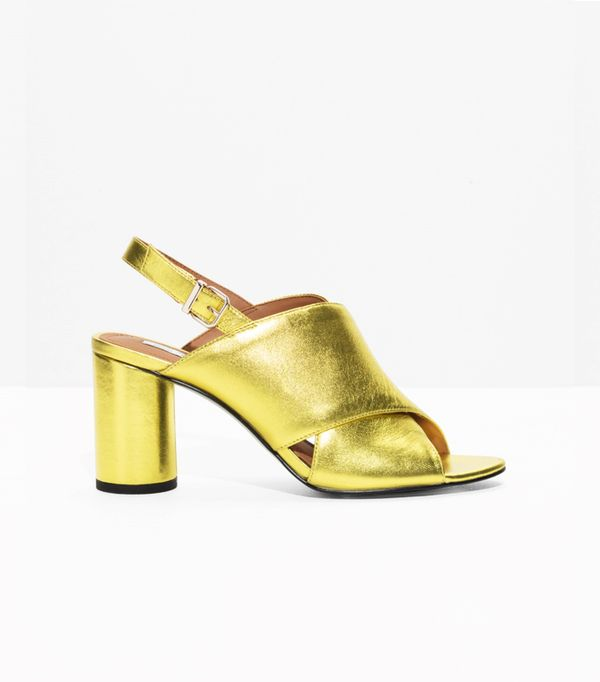 & Other Stories Gold Metallic Wide Strap Sandalette