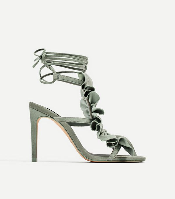 Zara Green Ruffled High Heel Leather Sandals