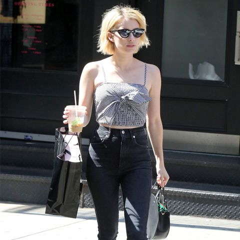 Emma Roberts Style: Black jeans and gingham crop top